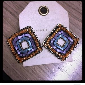 Anthropologie beaded diamond shaped earrings